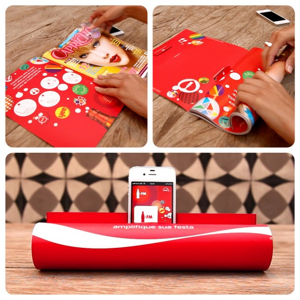 Coca Cola FM, a magazine that can be use as sound amplifier