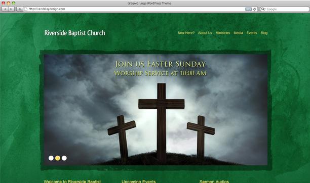 Church WordPress Theme Green Grunge  Wordpress Church Themes Showcase