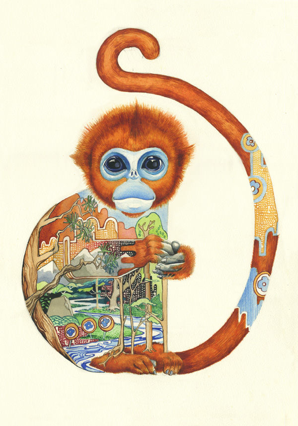 Golden moneky Golden Fur   Watercolour of a Golden Snub Nosed Monkey by Daniel Mackie