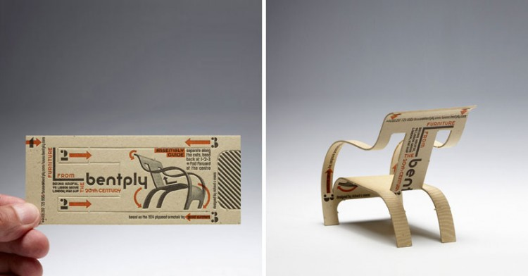 bentply01 750x392 Bentply business card transforms into chair