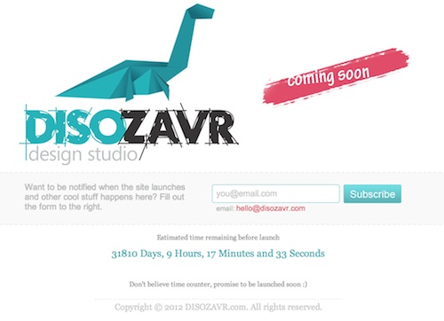 disozavr Examples of Inspiring Coming Soon Page Design & Analysis