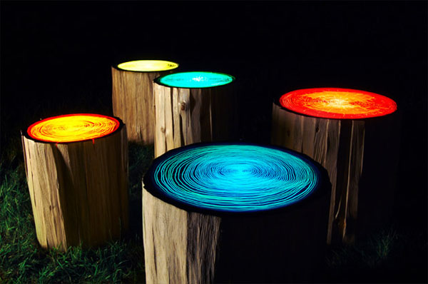 Tree Stump Lights...Cool!