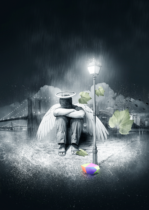 Create a Fallen Rain Soaked Angel Composition in Photoshop Photo Manipulation Tutorials