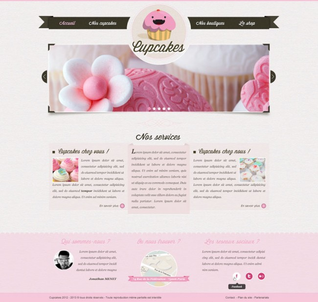 DYT PSD site vitrine cupcake accueil 1 650x618 Free PSD on the theme of cupcakes