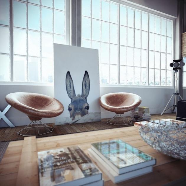 Realistic Home Loft Interior Renderings