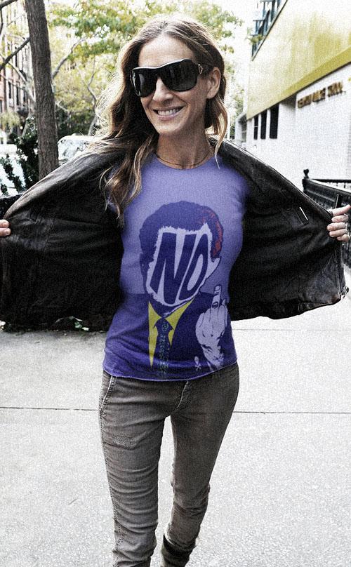 SJP Sarah Jessica Parker in a Lusky NO! t shirt