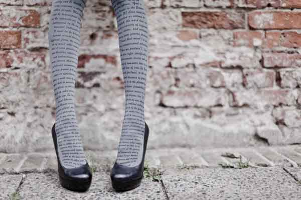 love text print tights grey black zohara Love is in the Tights! Heart & Love Text Print Tights