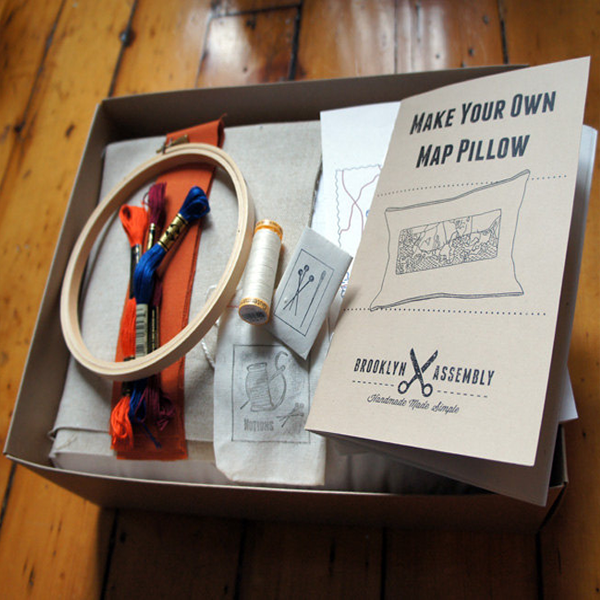 pillowkit2 DIY Brooklyn Assembly Kit Lets You Make a Pillow   With Any Map Stitched On