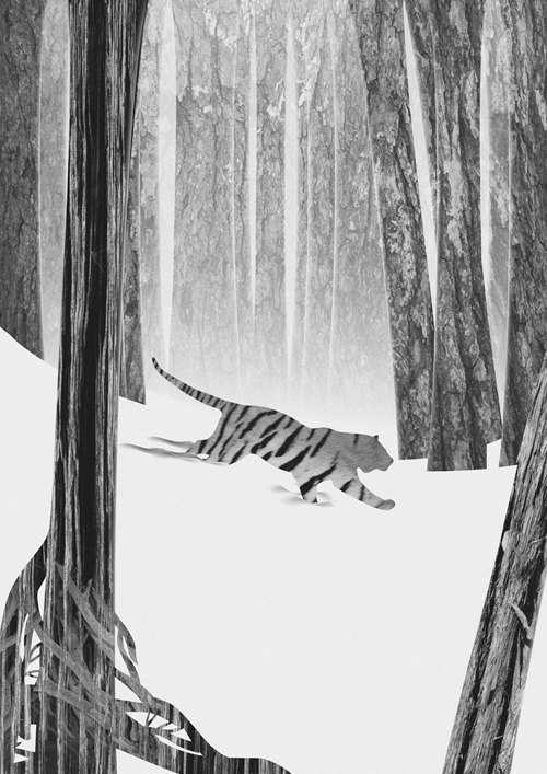 Martynas Pavilonis Martwood Tiger Art Print by Martynas Pavilonis