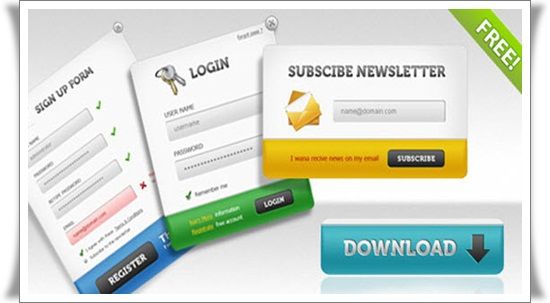 Sign up Forms Attractive PSD Login Design