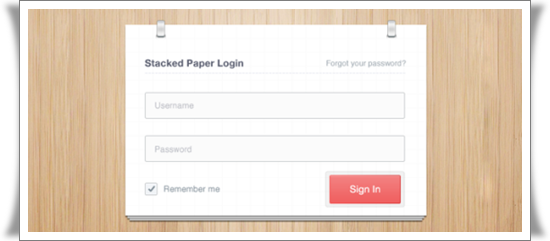 Stacked Paper Login PSD Attractive PSD Login Design