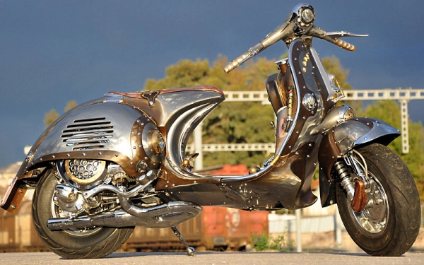 Steampunk Vespa Guardian Steampunk Vespa Piaggio scooter modded by greek artist is eye candy