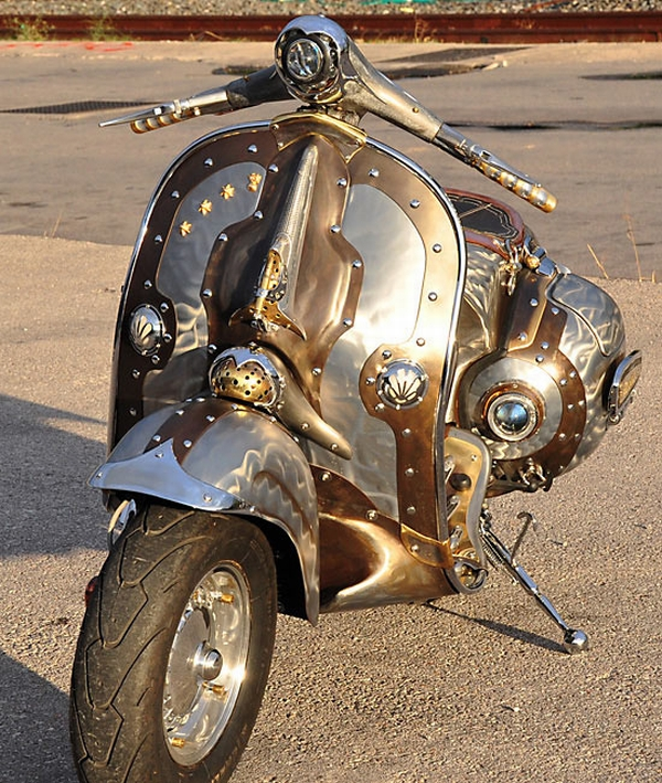 Steampunk Vespa Guardian 1 Steampunk Vespa Piaggio scooter modded by greek artist is eye candy