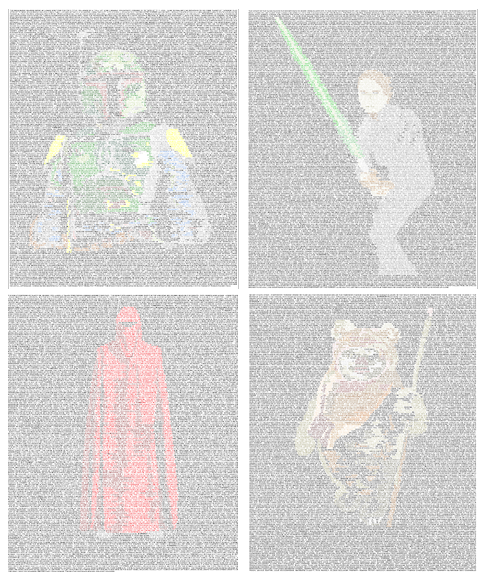 ad12 Star Wars Script Art   The ENTIRE Return of the Jedi script in 8 point font with character silhouettes