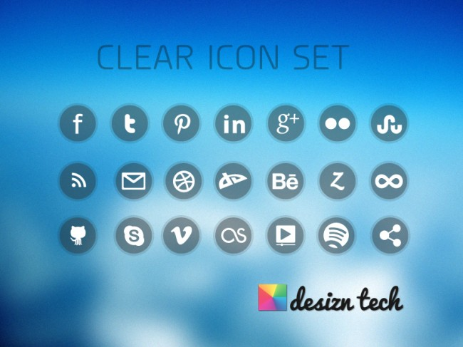 clear icon set preview 650x487 Free Clear Social Media Icons with PNG & PSD
