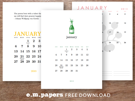 january2013 freecal 514px Free January 2013 Printable Perpetual Calendar Downloads From e.m.papers