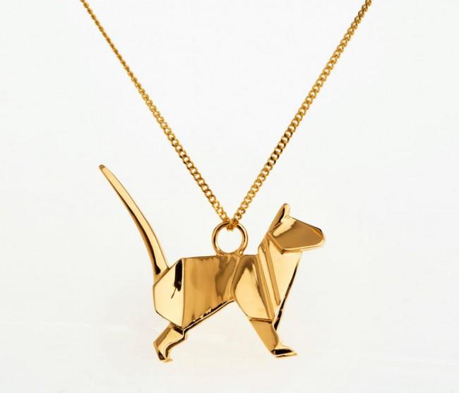 origami jewellery sautoir chat vermeil 650x557 Origami Jewellery