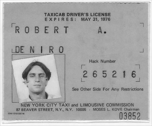 tumblr mgj6kbxbmU1qiqf01o1 500 Robert De Niros' official NYC taxicab driver's license.