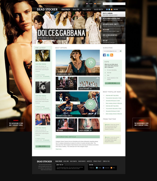 Dead Stocker – Fashion Free PSD Website Template 15 Fresh and Free Templates and UI Kits