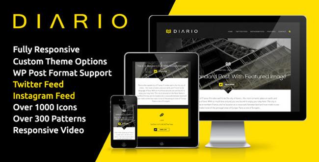 Diario Bold Minimal Responsive WordPress Theme 15 New 2013 Blog/Magazine WordPress Themes