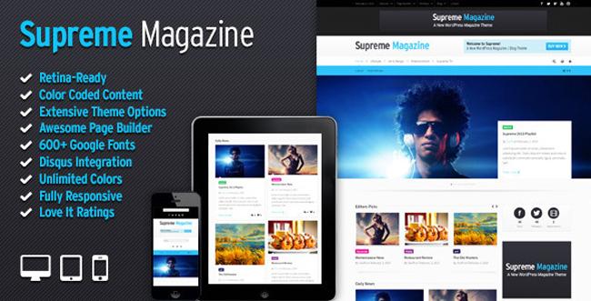 Supreme Retina Responsive Wordpress Blog Magazine Theme 15 New 2013 Blog/Magazine WordPress Themes