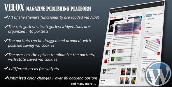 VELOX Drag Drop Magazine Publishing Platform Amazing Drag and Drop WordPress Themes