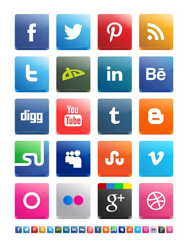 Vector 3D Social Media Icon Pack 15 Recent Free Icons for Designers