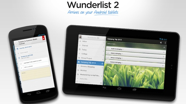 Wunderlist for Android Wunderlist 2 for Android Now Supports Tablets, it's Free