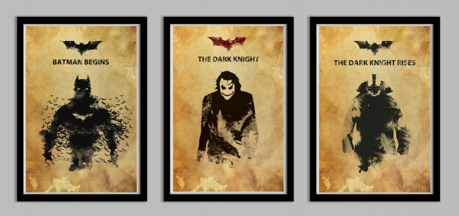 batmantrio 650x306 Batman Begins, Dark Knight, and Dark Knight Rises by Frankie McKeever, available on Etsy