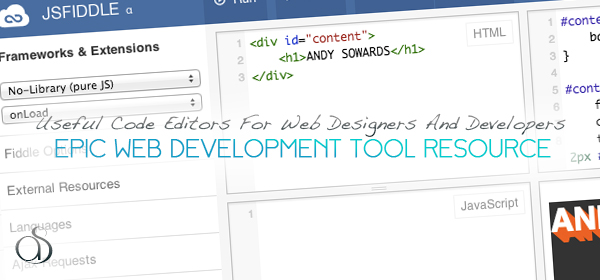 best online code editor resource web design development tools 2013 600x280 Useful Code Editors For Web Designers And Developers