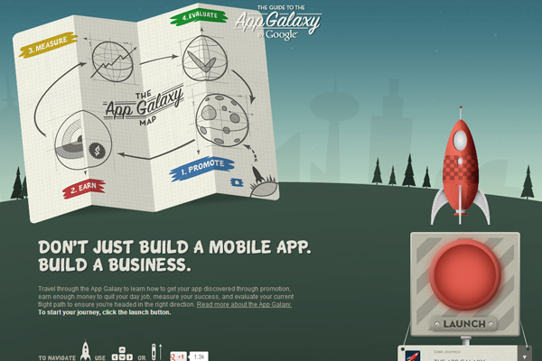 guide to the app galaxy1 35 Interactive Parallax Scrolling Website Designs
