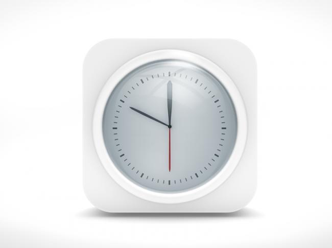 icon ios clock2 650x487 White Clock IOS Icon