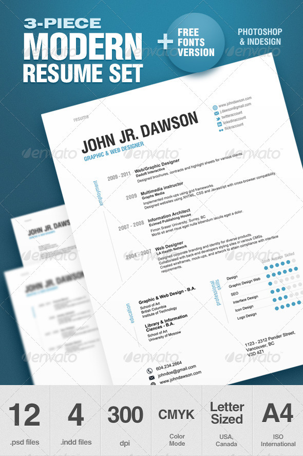 resume template1 A List of Popular Modern Resume Templates