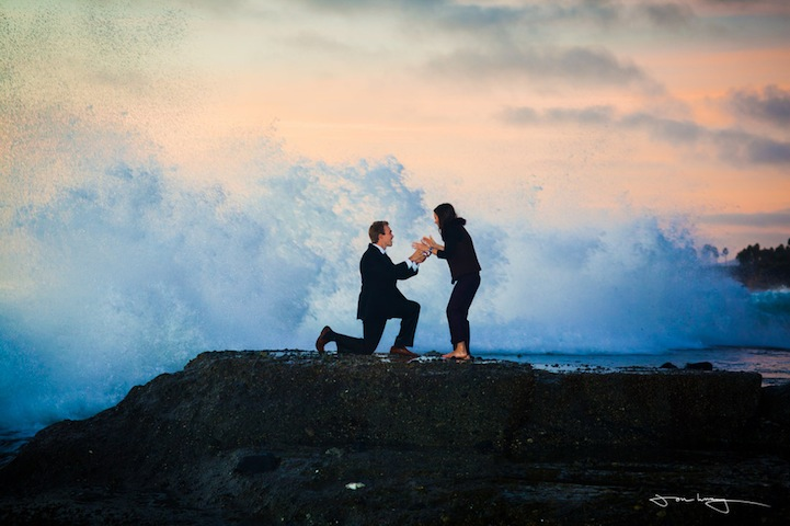 MattElisabethProposal1 Giant Crashing Wave Interrupts Beach Marriage Proposal