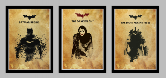 batmantrio 650x306 Batman Begins, The Dark Knight, and the Dark Knight Rises Poster Set by Lynx Collection
