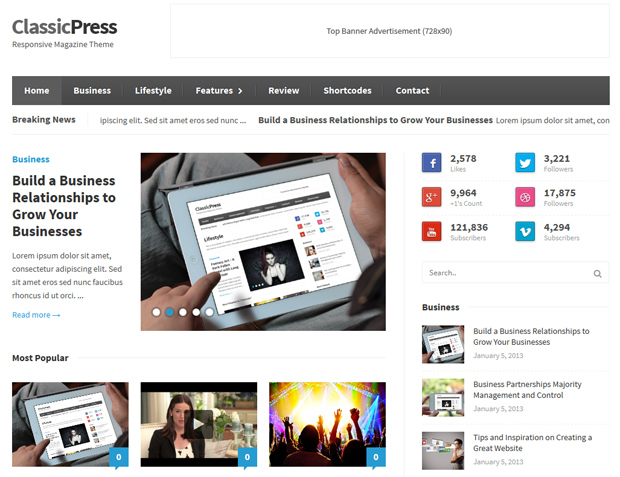 classicpress theme1 Best Business, Portfolio Responsive WordPress Themes Collection