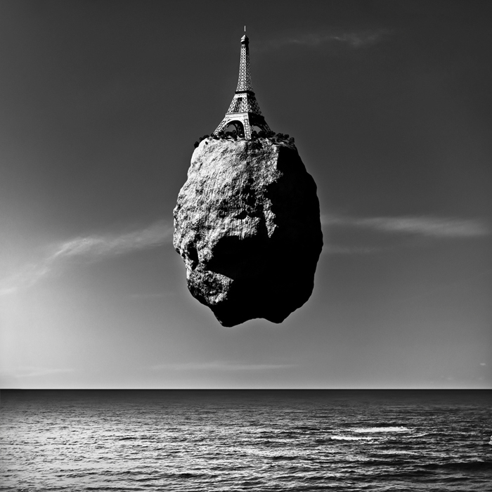 World Landmarks Levitate on Boulders Over the Ocean