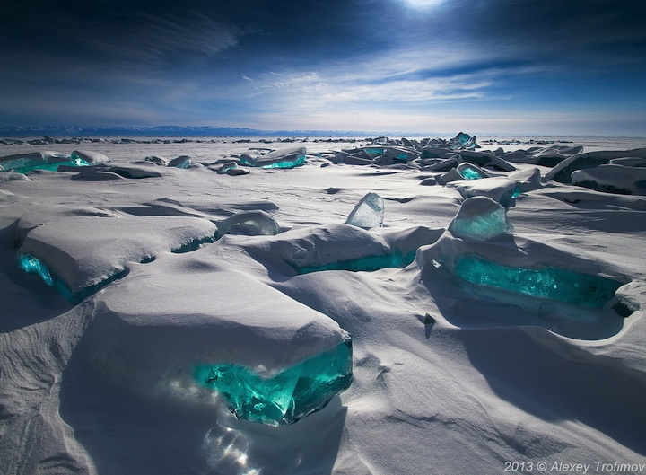 ice Shards of Turquoise Ice Jut Out of the Worlds Largest Lake