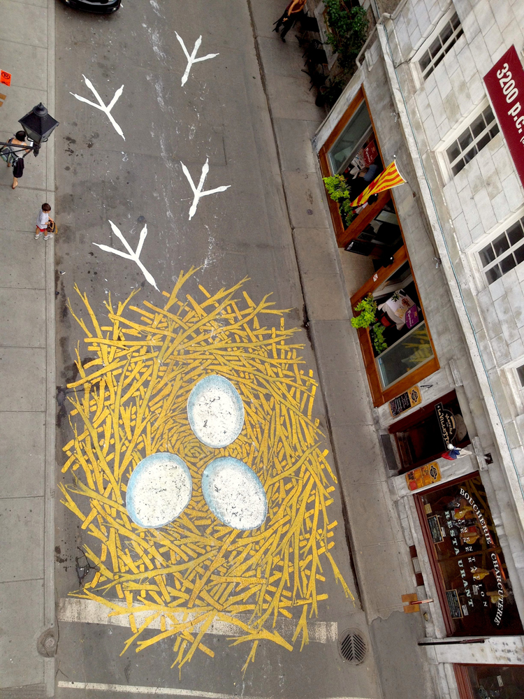 nid de poule Street Artist Cleverly Turns the Road into His Canvas