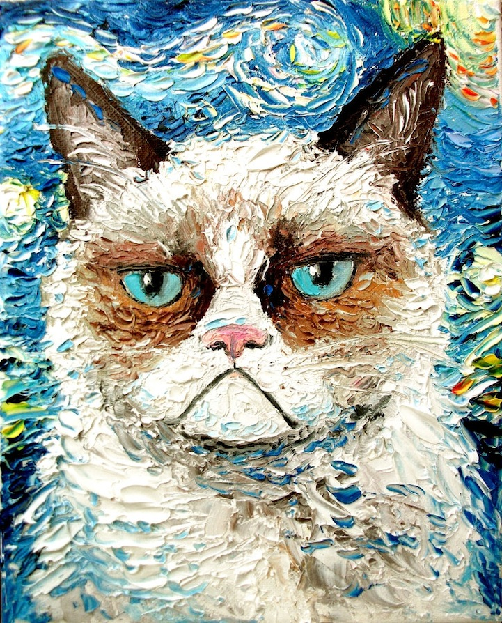 Palette Knife Paintings of Hilarious Grumpy Cats