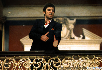 scarface Guns in famous movie scenes replaced by a thumbs up
