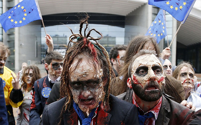 156 Zombies Protest Against EU India Trade Agreements in Brussels