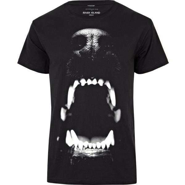264278 main Black dog bite print t shirt