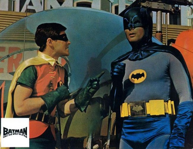 Adam West and Burt Ward in Batman 1966 2 650x504 Adam West and Burt Ward in Batman, 1966