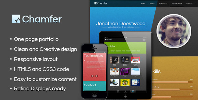 Chamfer – One Page Responsive Theme 10 One Page Portfolio WordPress Themes