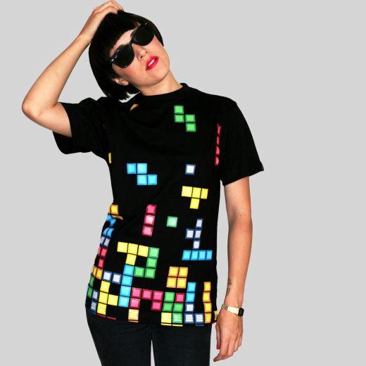 Daily Tee Tetris t shirt design from technabob.com girl Tetris t shirt design from technabob.com