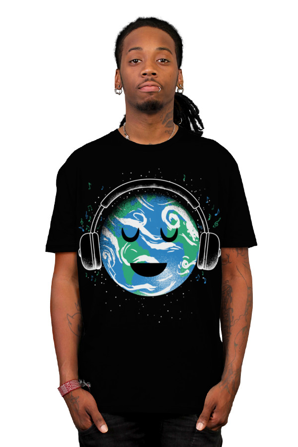 Daily Tee The whole earth loves music t shirt design by biotwist boy The whole earth loves music t shirt design by biotwist
