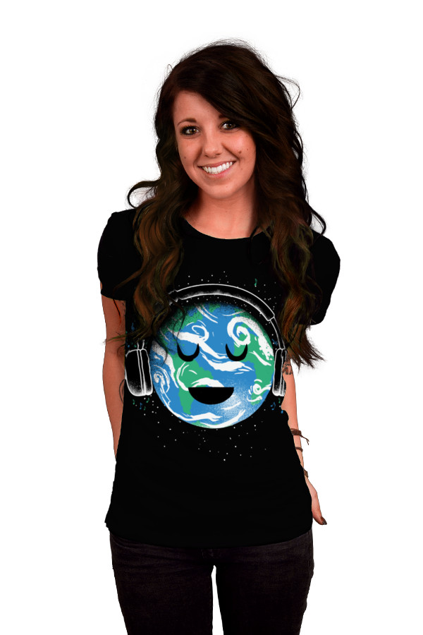 Daily Tee The whole earth loves music t shirt design by biotwist girl The whole earth loves music t shirt design by biotwist
