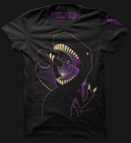 Daily Tee Tyrannosaurus RockStar by seventhink Tyrannosaurus RockStar t shirt design by seventhink