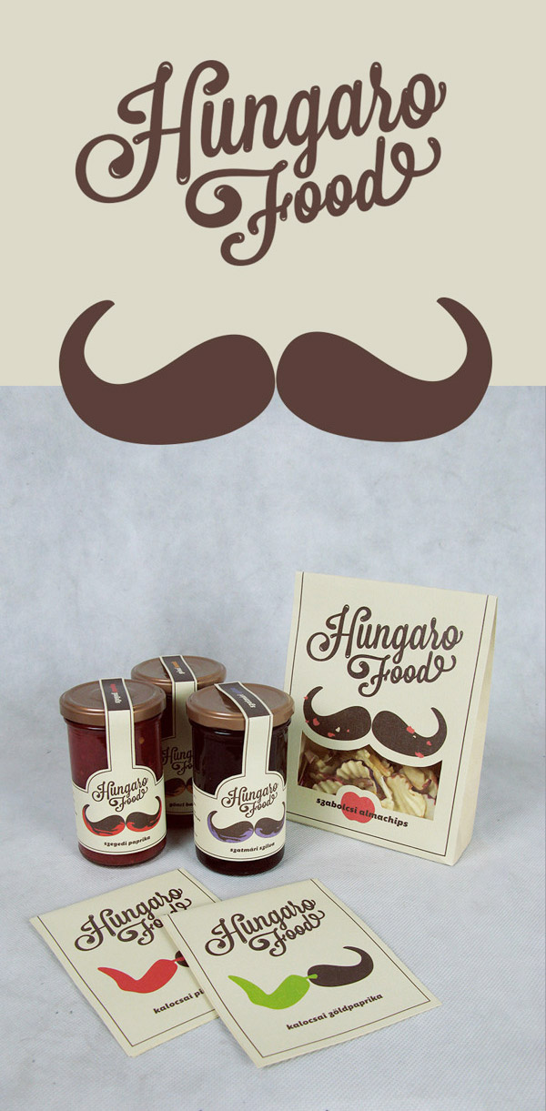 Hungaro Food Packaging design using moustache creatively Some Really Cool Food Packaging for Inspiration
